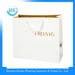Promotional hot selling brand ribbon handle paper bag Huake Printing