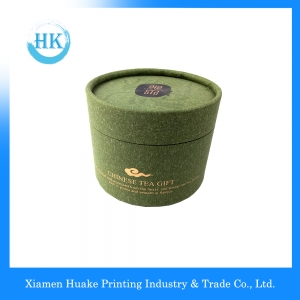 Green Printed Gold Stamping Tea Packing Grey Board Paper Core Tube with Flip Cap