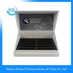 Display Cardcover Box With White Ribbon EVA Foam Insert