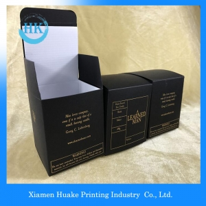 Logo Gold Hot Stamping Black Card Box with Corrugated Liner For Perfume